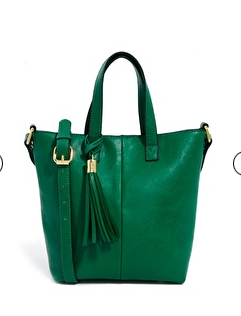 Asos green tote with tassel detail