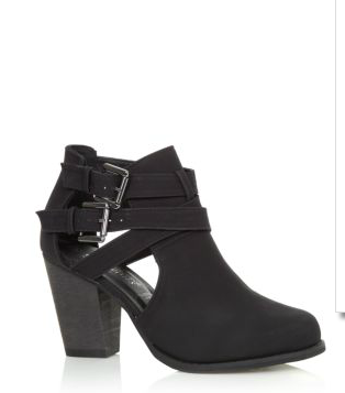 Black Cut Out Panel Buckle Ankle Boots