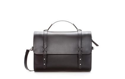 Zara leather look messenger bag