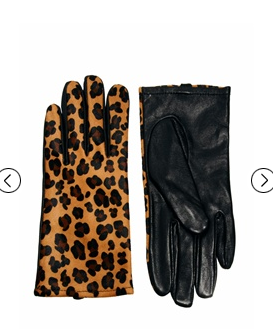Warehouse Leather Leopard Print Gloves at ASOS