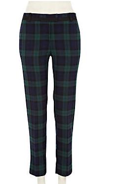 -Dark green check smart trousers - slim trousers - trousers - women