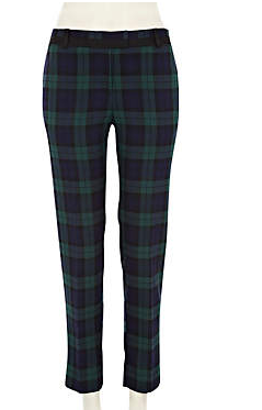 -Dark green check smart trousers - slim trousers - trousers - women