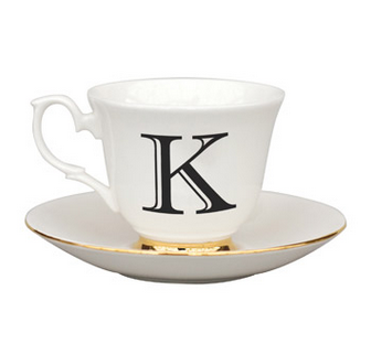 Welovekaoru Letter K Teacup & Saucer at Urban Outfitters