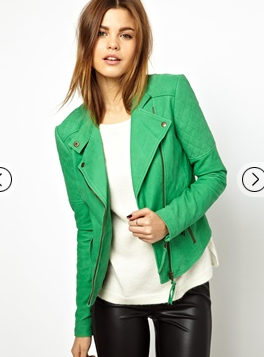 Asos green leather jacket by Y.A.S