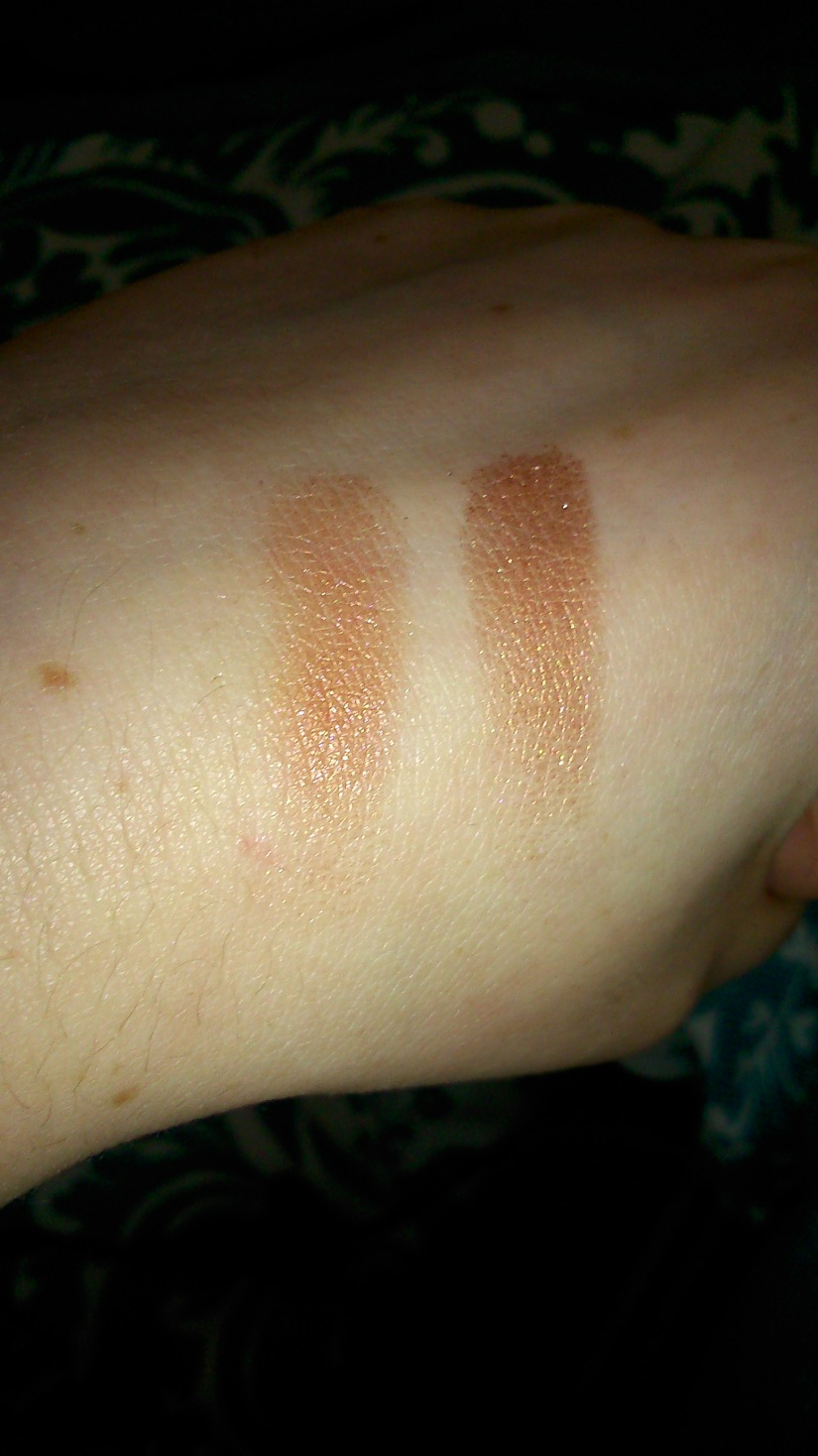{Left} Urban Decay Naked 3: Trick {Right} W7 shade (fourth from left)
