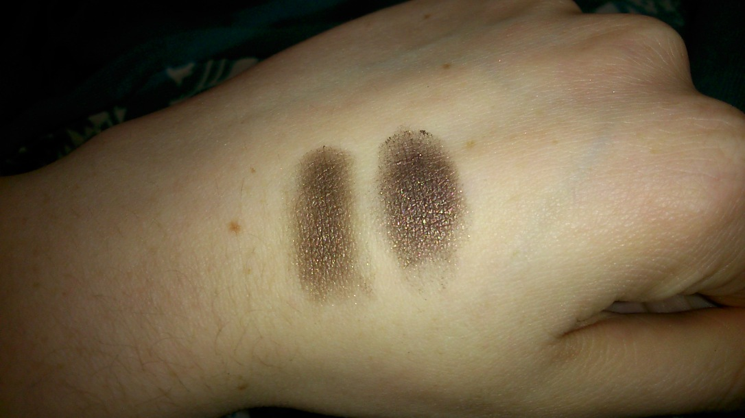 "{Left} Urban Decay Naked 1 in ""Hustle"" {Right} W7 second last shade on the right"