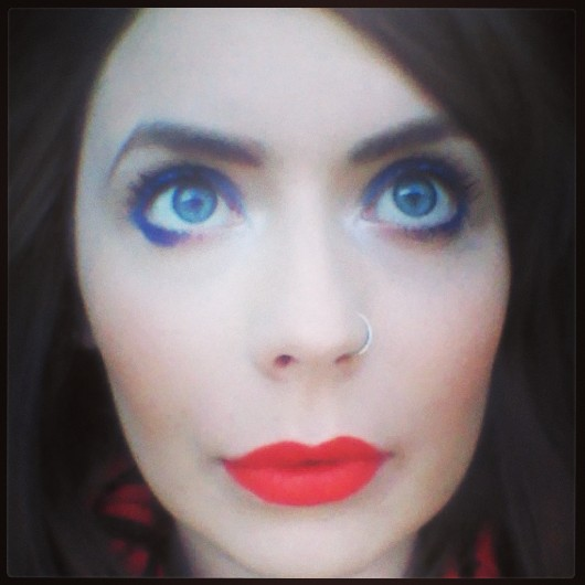 Eyes: Rimmel Scandaleyes in Bright Blue Lips: MAC Lady Danger Cheeks: MAC Peaches